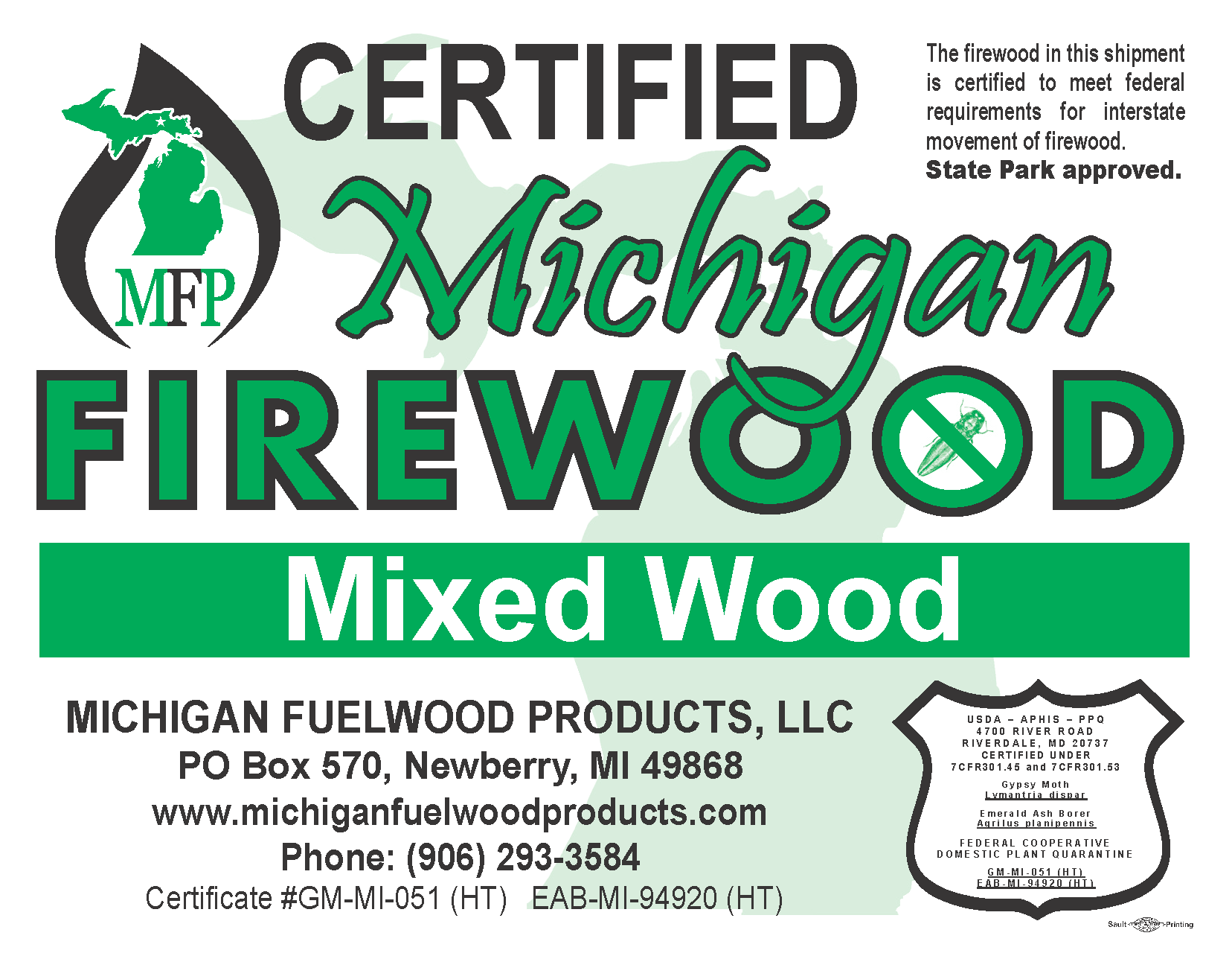 Michigan Fuelwood Products Mixed Wood firewood bundle label 1 cubic foot