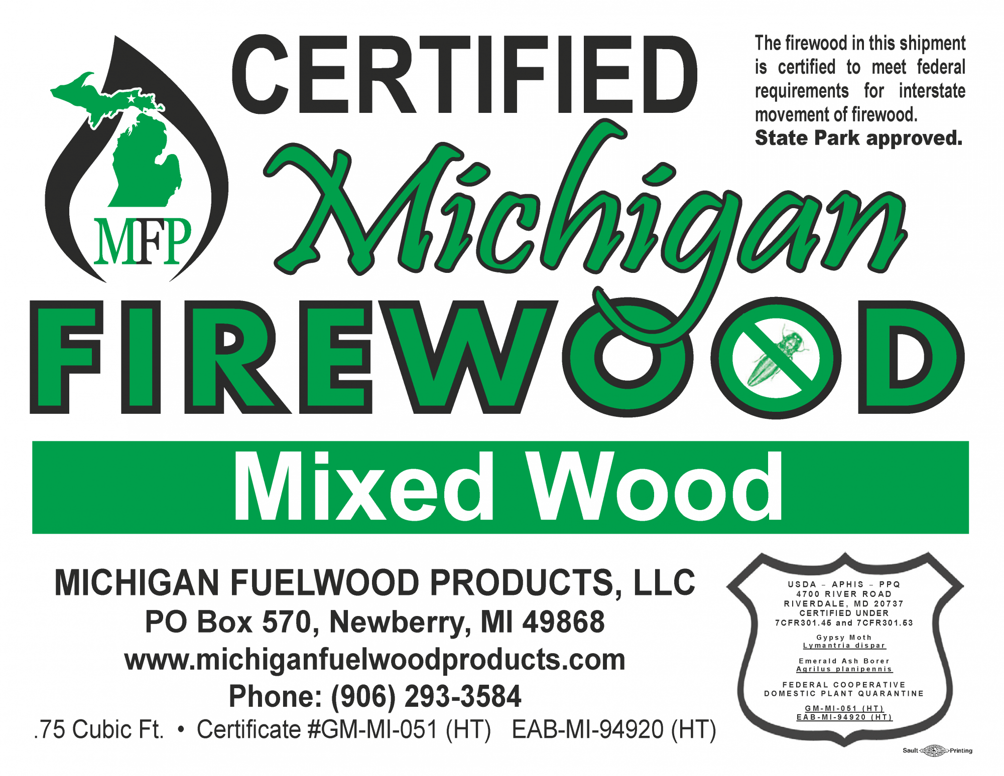 Michigan Fuelwood Products Mixed Wood firewood bundle label .75 cubic foot