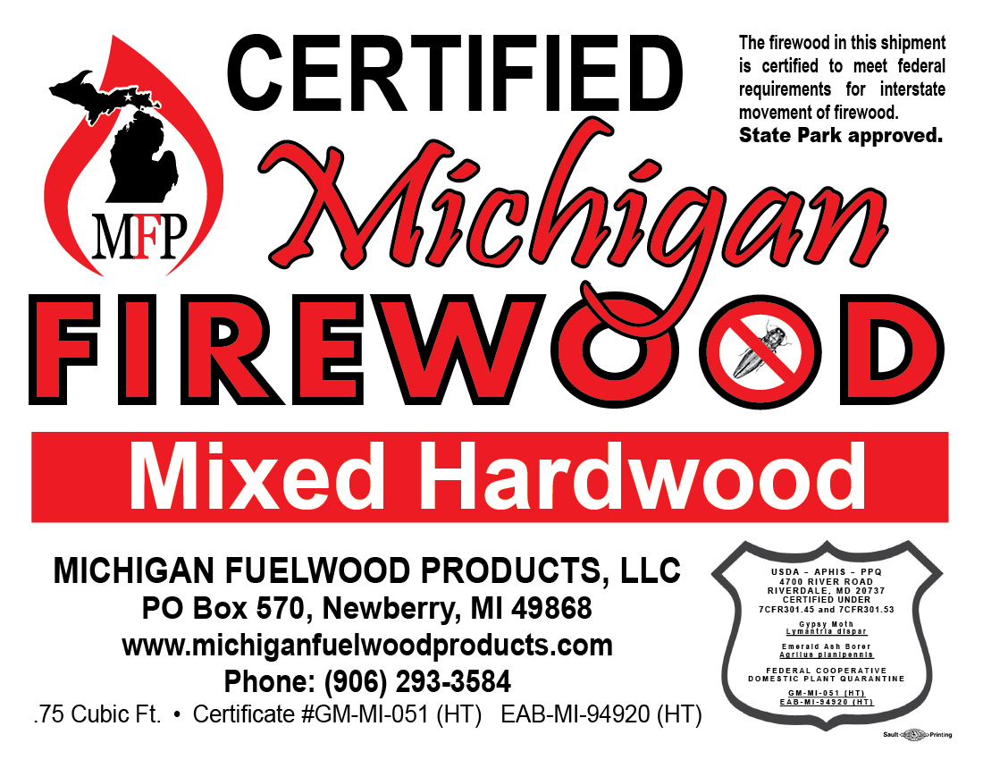 Michigan Fuelwood Products Mixed Hardwood firewood bundle label .75 cubic foot